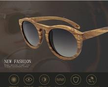 2017 New Arrival Unisex Retro Round Polarized Wooden Sunglasses Vintage Design