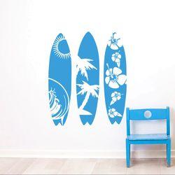 Sea Sport Wall Decal New Design Surfboard Wall Sticker Waves Sea Beach Wall Art Mural Creative Three Surfboard Style Decal AY952