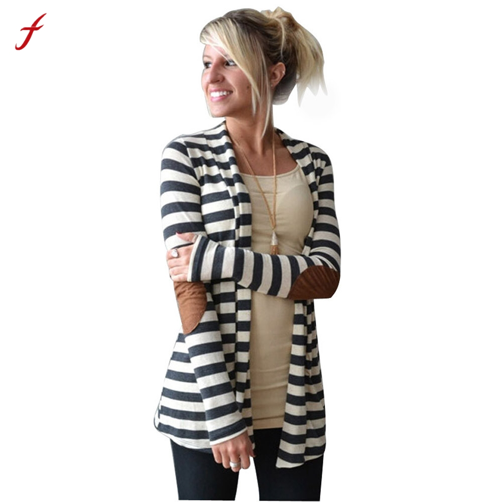 2017 Winter Fashion Outerwear Women Long Sleeve Stripped Casual Strip Patchwork Womens Cardigans Coat Sweater For