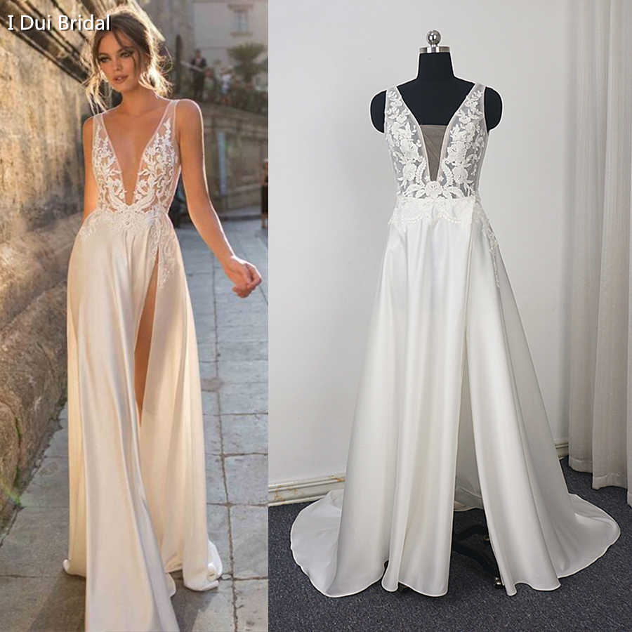 V Neck Lace Satin Wedding Dress with Split Leg Pearl Beaded Lace Appliqued Bridal Gown