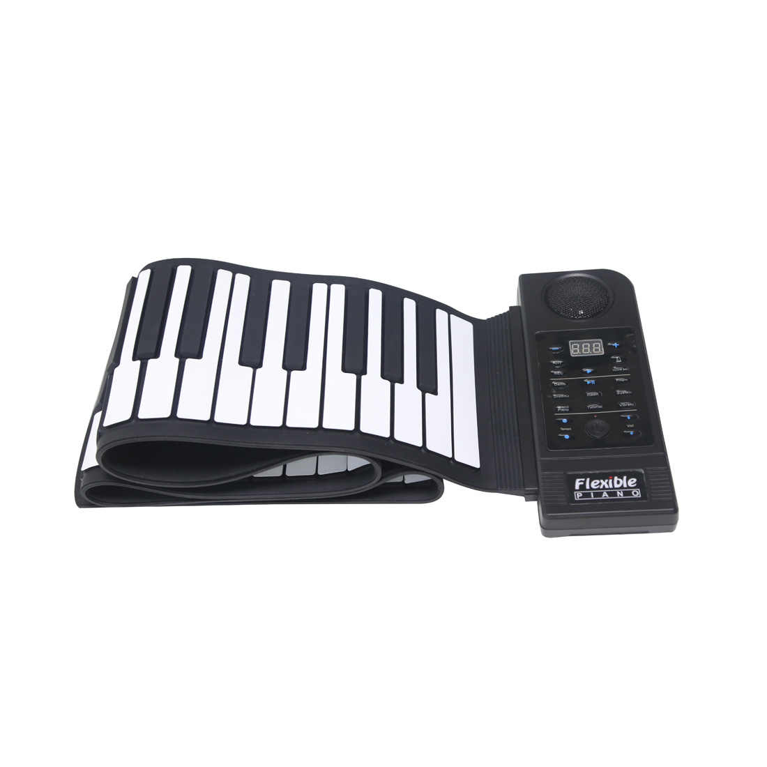 KONIX PU88M 88 Keys Black MIDI 128 Tones Electronic Organ Roll Up Folding  Piano Built-in Speaker for Kids