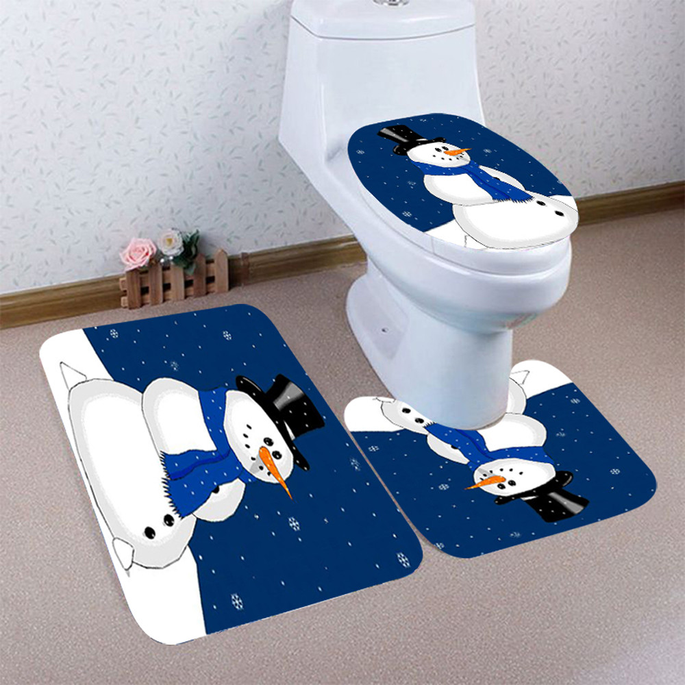 3 Pcs Kerst Badkamer Non Slip Voetstuk Tapijt Deksel Wc Cover Badmat Set Toilet Seat Cover Wc Accessoires