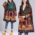 Más el Tamaño 5XL 6XL 2016 de Otoño Invierno de Las Mujeres Nacionales de La Vendimia Señoras de la impresión Grande Hembra Larga Trinchera Ropa de Algodón Traje Ropa de Abrigo escudo