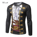 Retro 3D Print T-shirt Men Long Sleeve Fitness Round Neck Fake Two Pieces T-shirts Cool tops & tees Casual tshirt  Tee Shirt