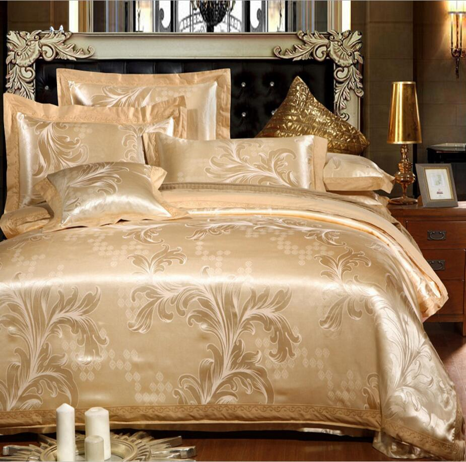 European style Bed cover silk cotton bedlinen jacquard satin bedding sets queen king Embroidered duvet cover sheet pillowcasesEuropean style Bed cover silk cotton bedlinen jacquard satin bedding sets queen king Embroidered duvet cover sheet pillowcases