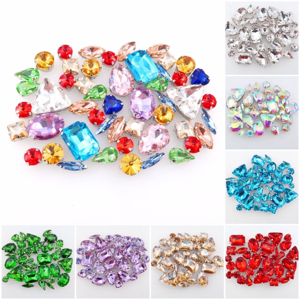 50pcs bag shapes mix silver claw setting clear jelly candy AB glass crystal sew on rhinestone wedding dress shoes bag diy trim in Rhinestones from Home Garden