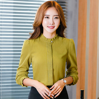 Stand Collar Long Sleeve Red Green Blouse Fashion Autumn Covered Button Chiffon Blusa Tops Female Office