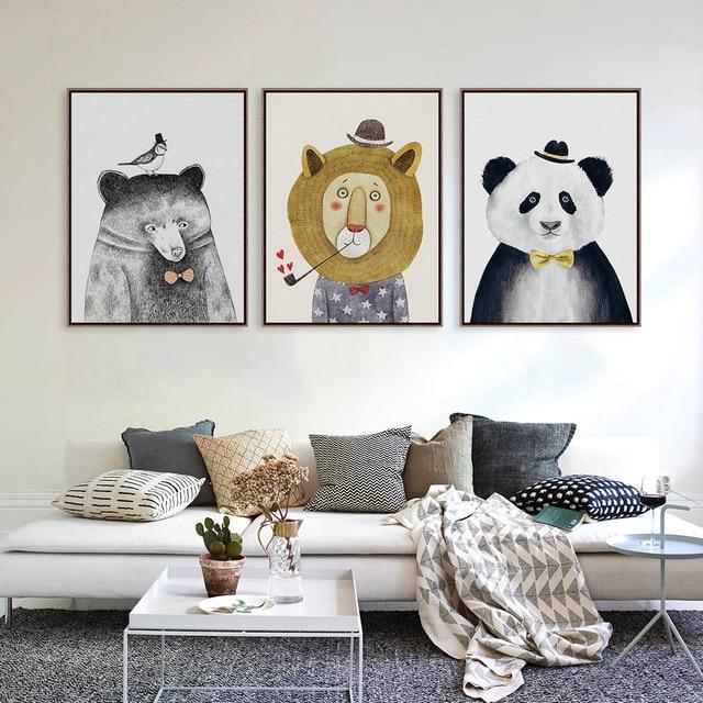 Nordic Kawaii Животные Лев Медведь Панда A4 A3 Печать На Холсте Плакат детская Стены Картина Холстины Детская Комната Домашний Декор Без Рамки