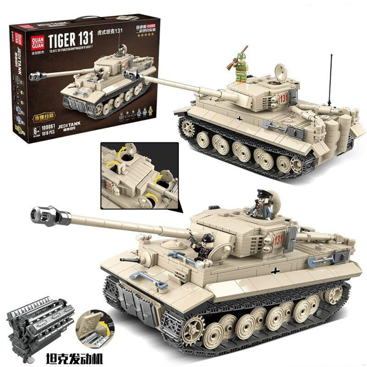 World War Ii Legoings Tiger Tank Children's Intelligence Assembling Building Blocks Tiger Tank Toys Gift Doll