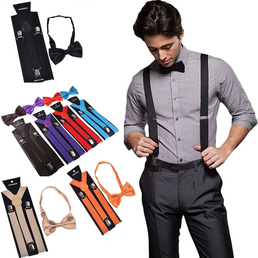 Bow Tie Suspender Set Adjustable Elastic Wedding Belt Strap Shirts Brace For Men Women