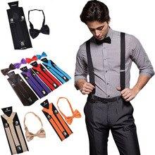Bow tie Suspenders Set Adjustable Elastic Wedding Belt Strap Shirts Brace For Men Women