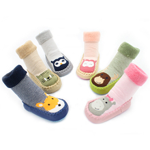 0-22 Months Autumn Winter Thicken Cartoon Cotton Terry Baby Floor Socks Non-slip Baby Toddler Socks Shoes Warm Animal Foot Socks slkmswmdj 1 pairs spring autumn cotton cartoon baby toddler socks unisex children s non slip floor socks xs s m for 0 30 months