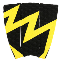 Outdoor 3 Pieces Anti Slip Surfboard Traction Tail Pads Surfing Surf Deck Grips Yellow Black Water