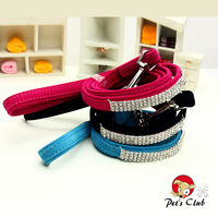 Soft Flocked Dogs Leash Blingbling Pets Doggie Lead Leashes Full Of Rhinestones 3 Colors 1.5*120cm