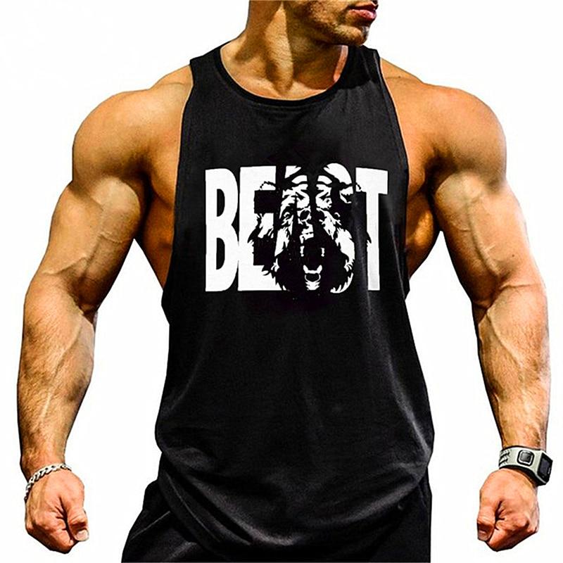 Gym vests Brand clothing Bodybuilding Fitness Mens running tanks workout BEAST print vest sportswear muscle undershirt