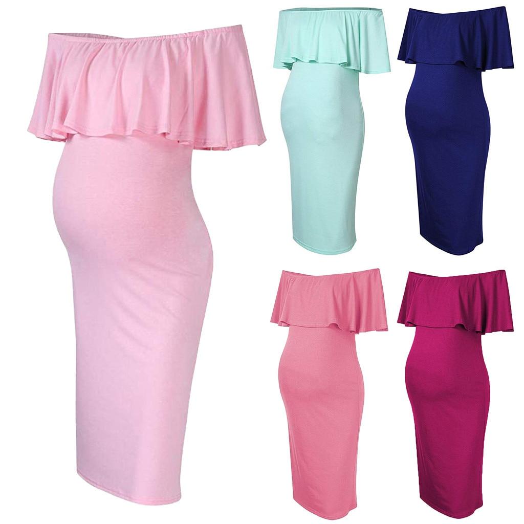 2019 New Arrival Womens Pregnancy Nursing Dress Fashion Womens Pregnant Off Shoulder Ruffles Solid Nursing Maternity Dress Mother & Kids
