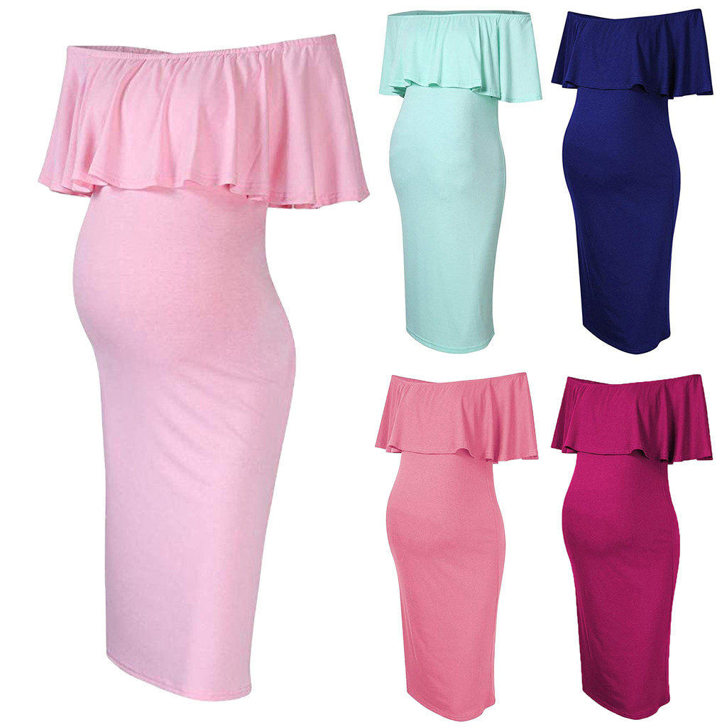 Maternity Mini Dress Women/'s Pregnancy Nursing Dress Off Shoulder Ruffles Solid Nursing Maternity Dress