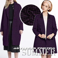 High End Fashion And Purple Houndstooth Wool Fabric Overcoats Apparel And Garment Wool Fabric Autumn And