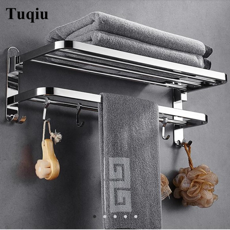 Nail free Towel Racks Bathroom chrome Finish foldable Bath Towel Shelves Towel Bar Bath Hardware double level with hooks free shipping towel racks luxury bathroom accesserries golden finish bath towel shelves towel bar bath hardware db008k 1