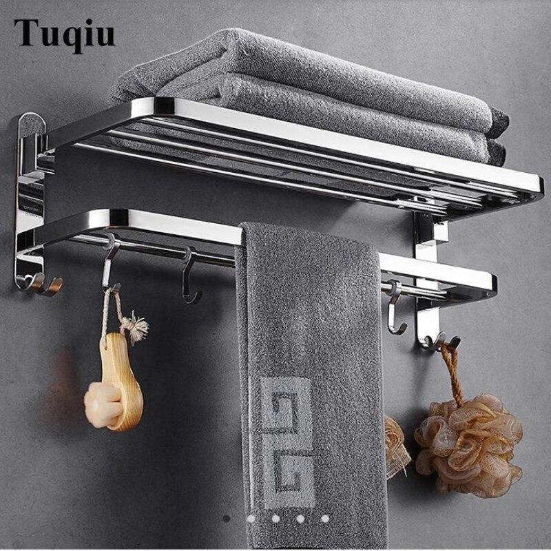 Prego ou prego livre toalha cremalheiras do banheiro acabamento cromado dobrável toalha de banho prateleiras barra de toalha banho ferragem duplo nível com ganchos