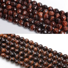 Baihande 6 8 10 12mm Natural AAA Round Red Tiger Eye Facet Gemstone Loose Beads For Necklace Bracelet DIY Jewelry Making 15inch
