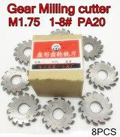 M1.75 Modulus PA20 graden NO.1-NO.8 8 stks/set HSS Versnelling frees Gear snijgereedschap Gratis verzending
