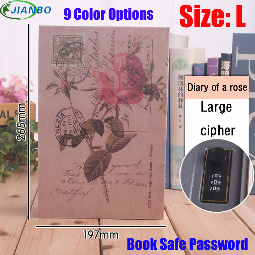 Size L 9 Color Combination Lock Hidden Password Safe Box Steel Simulation Book Home Office Money Jewelry Phone Safe Storage Box in Safes from Security Protection