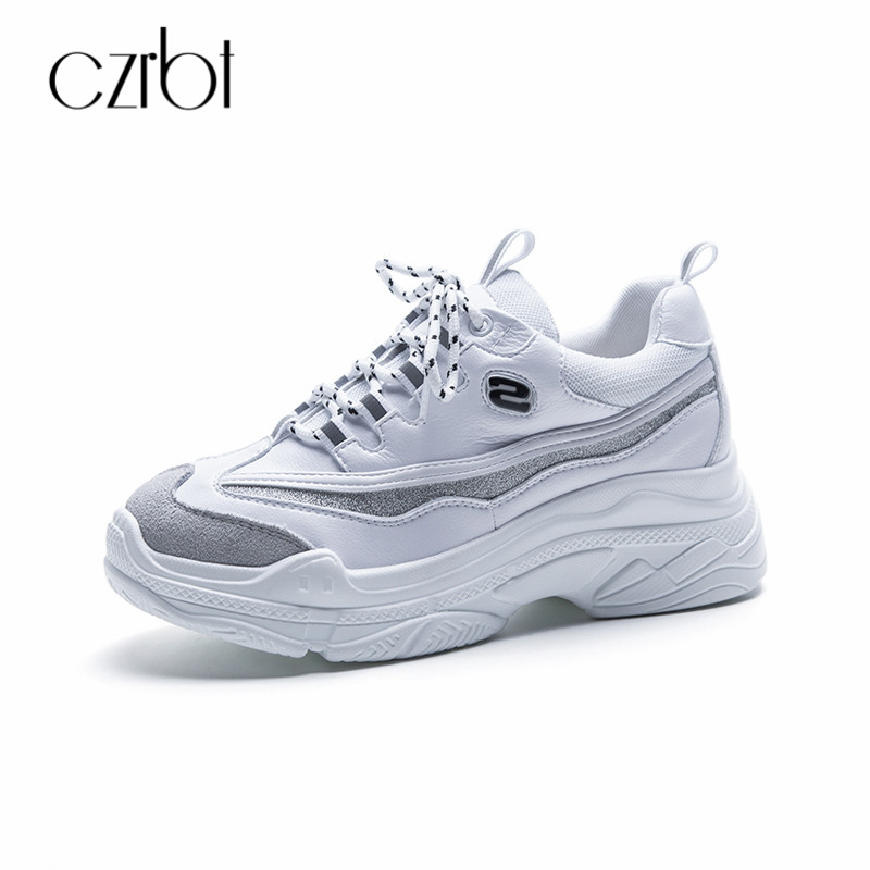 CZRBT 2018 New Women Sneakers Genuine Leather Thick Bottom Platform Shoes Women Plus Size Lace UP Ladies Flats Casual Shoes instantarts women casual flats shoes ladies skull flower printed light air mesh fashion sneakers girl lace up shoes plus size