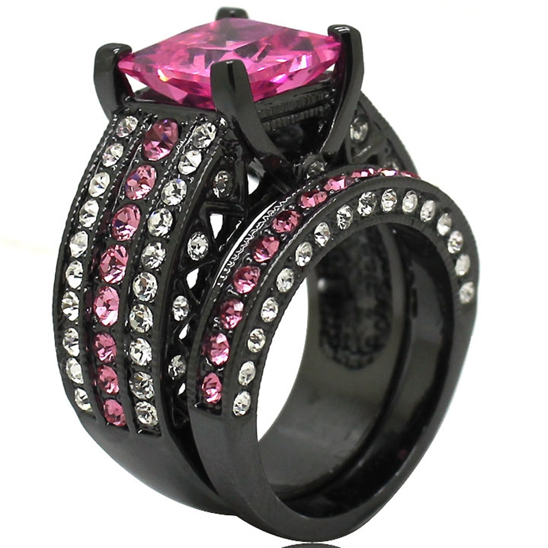 size 5 6 7 8 9 10 11 black rhodium plated pink stone princess cut wedding - Pink And Black Wedding Ring Set