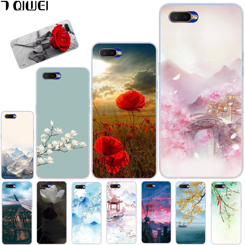 6.4\'\' For OPPO RX17 Neo Case Silicone Soft TPU Print Cover For Para OPPO RX17 Neo RX 17 Neo R17 Neo Rx17neo Cover Funda Flower