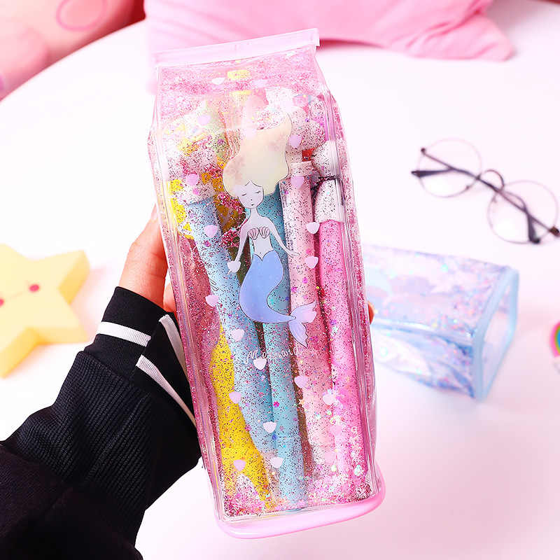 Cute Pencil Bags & Case for Student Kids Gift School Supply Stationery Kawaii Milk Shap Glitter Liquid Storage Bag