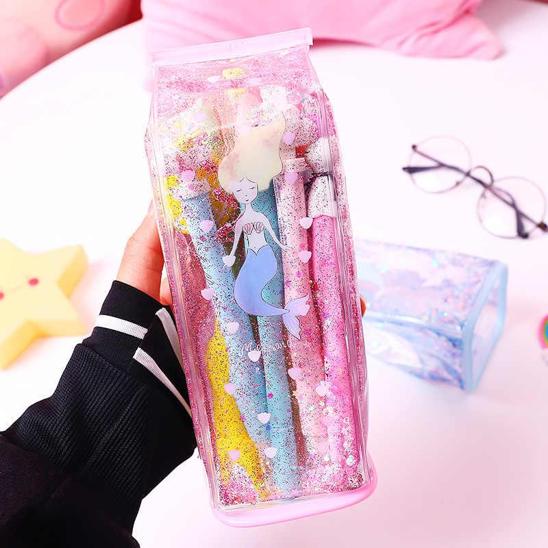 Cute Pencil Bags & Case for Student Kids Gift School Supply Stationery Kawaii Milk Shap Glitter Liquid Storage Bag