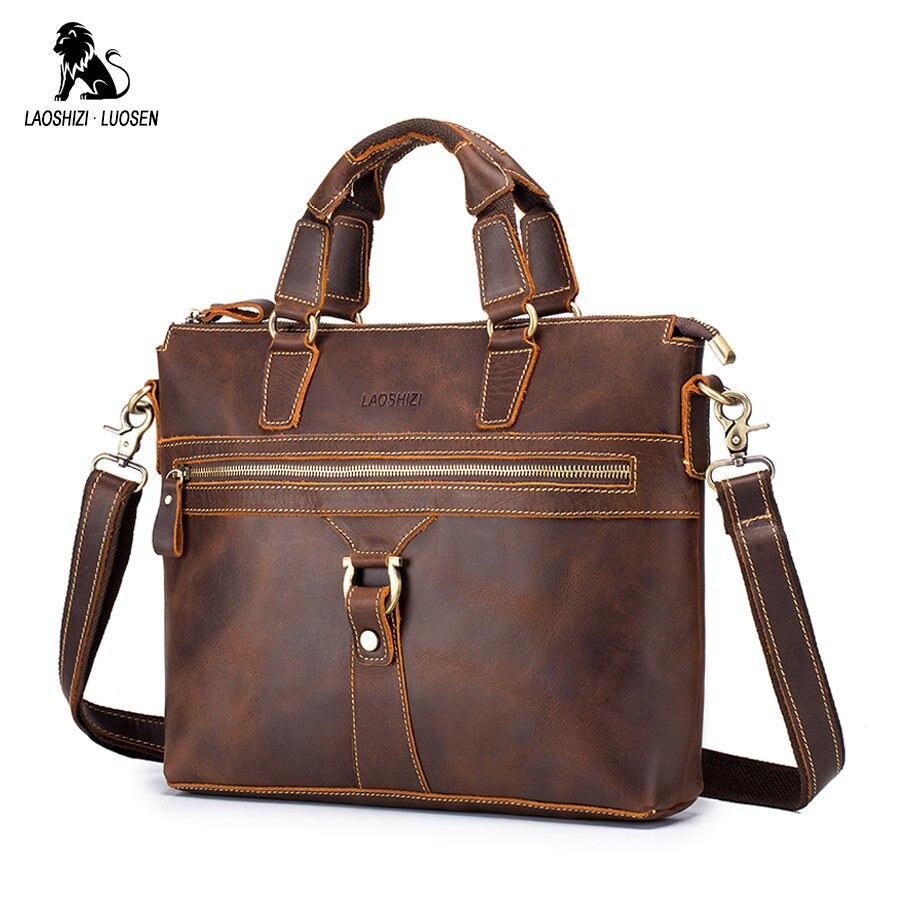 LAOSHIZI LUOSEN Bag Men's Genuine Leather Briefcase Male Laptop Bag Natural Leather For Men Messenger Bags Men's Briefcases 2019