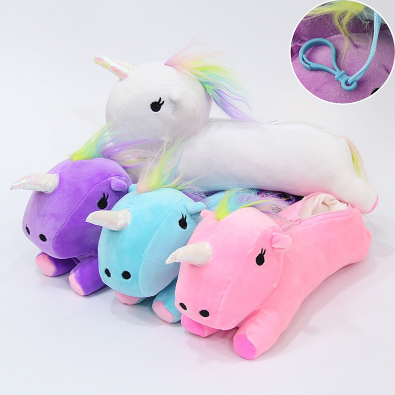 Creative Kawaii Unicorn Plush Pencil Case With Hook Cute Colorful Pen Bags For Kids Gift Korean Stationery School Supplies