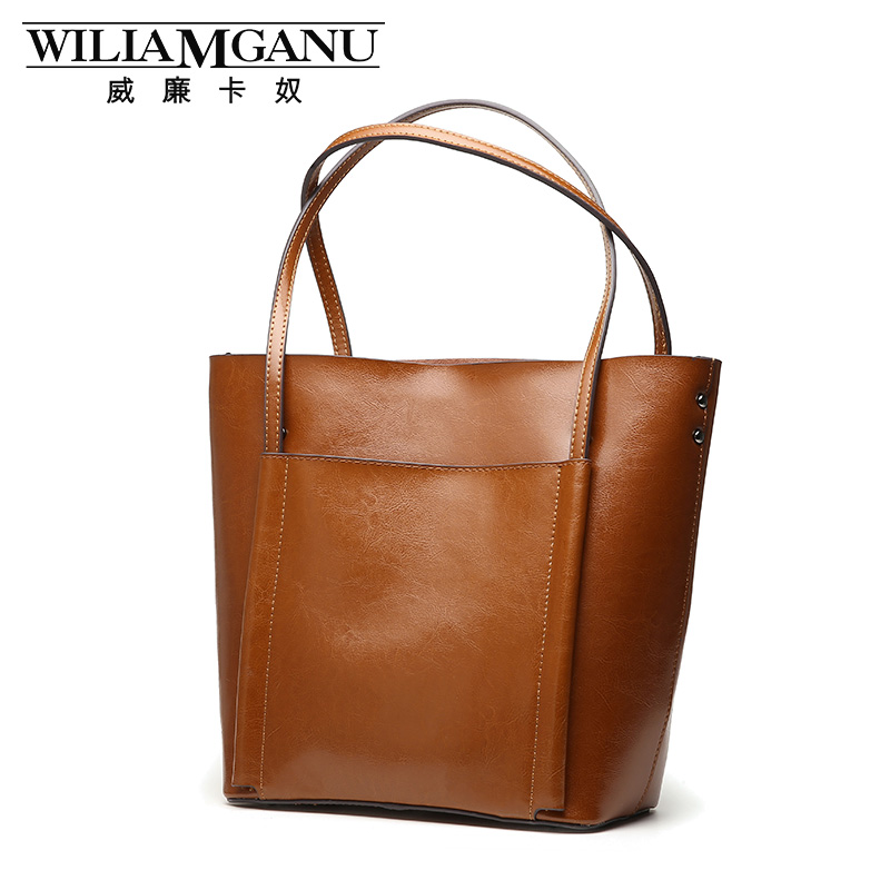 ФОТО WILIAMGANU brand 2017 new Tote bag simple leather retro fashion ladies cowhide shoulder bag handbag shopping bag free delivery