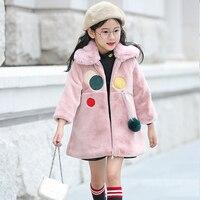 Faux pelzmantel mädchen herbst winter warme jacke kinder mädchen schwarz weiß rosa lange oberbekleidung mädchen-kleidung kinder kleidung