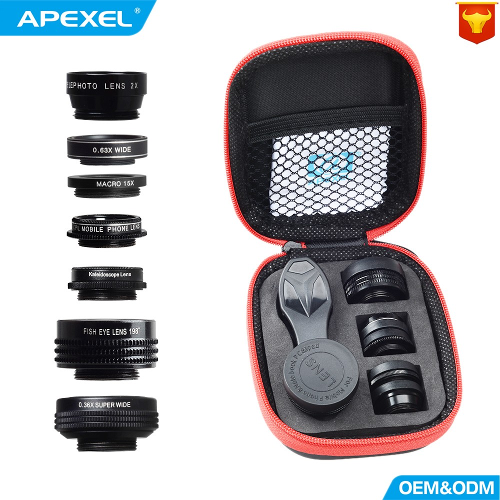 APEXEL Camera Lens 7in1 in mobile phone Fisheye Wide Angle macro Lens CPL Kaleidoscope telephoto zoom Lens for iPhone SAMSUNG mi
