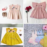 ¡Boutique! Exquisito bordado vestido de verano de los niños hermoso vestido Floral para bebé y Niña de moda de lujo vestidos de niño