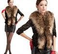 2015 nueva moda de invierno de piel Jacket Women Faux Fur chaleco Gilet mangas solapa de la chaqueta de la capa del chaleco de pelo