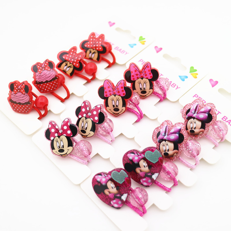 4PCS New Cute Resin Mouse Bowknot Kids Elastic Hair Bands Baby Headdress Children Hair Ropes Girls Hair Accessories