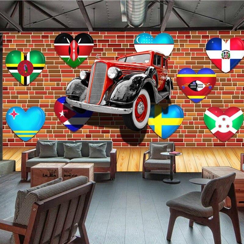 Custom photo wallpaper 3D stereo mural Colorful cartoon car Western Restaurant backdrop custom high quality wallpaper