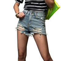 Fashion Cool Flash Shorts XS 5XL Short Jeans 2016 Summer Women High Waist Denim Shorts Frayed