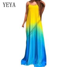 YEYA Plus Size Summer Beach Women Party Dress 2019 Rainbow Printed Spaghetti Strap Sleeveless Vintage Boho Maxi Dress Vestidos цена 2017