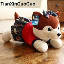 "large 65cm cute brown husky plush toy dress skirt "" i love you"" husky soft doll throw pillow birthday gift s0632"