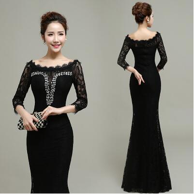 Zwarte lange stretch jurk
