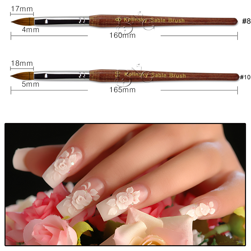 BNG 1pc #8 #10 Kolinsky Sable Nail Brush Builder Powder Red Wood Handle Nail Art Acrylic Brush Pen For UV Gel Polish Manicure все цены