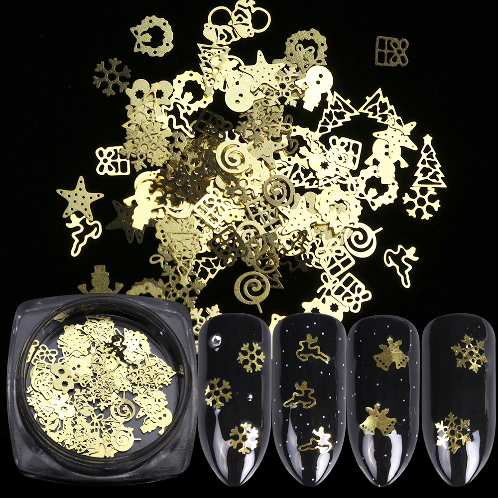 1 Box Christmas Gold Metal Slices Nail Art Decorations 3D Hollow Snowflakes Star Sequins Nail Designs Accessories Manicure TR886-in Nail Glitter from Beauty & Health