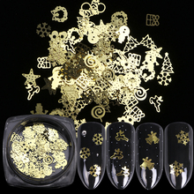 1 Box Christmas Gold Metal Slices Nail Art Decorations 3D Hollow Snowflakes Star Sequins Nail Designs Accessories Manicure TR886