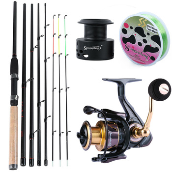 Sougayilang 6 Section M Power Carbon Fiber Spinning Rod with 13 +1BB Braking System Spinning Reels Combo Pesca