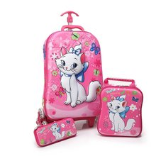 3D stereo student trolley case Cute Princesses kids Travel suitcase boy girl cartoon pencil box Climb stairs children schoolbag()